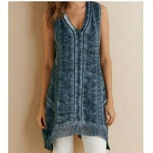 Soft Surroundings Ocean Fade Tunic in Washed Blue
